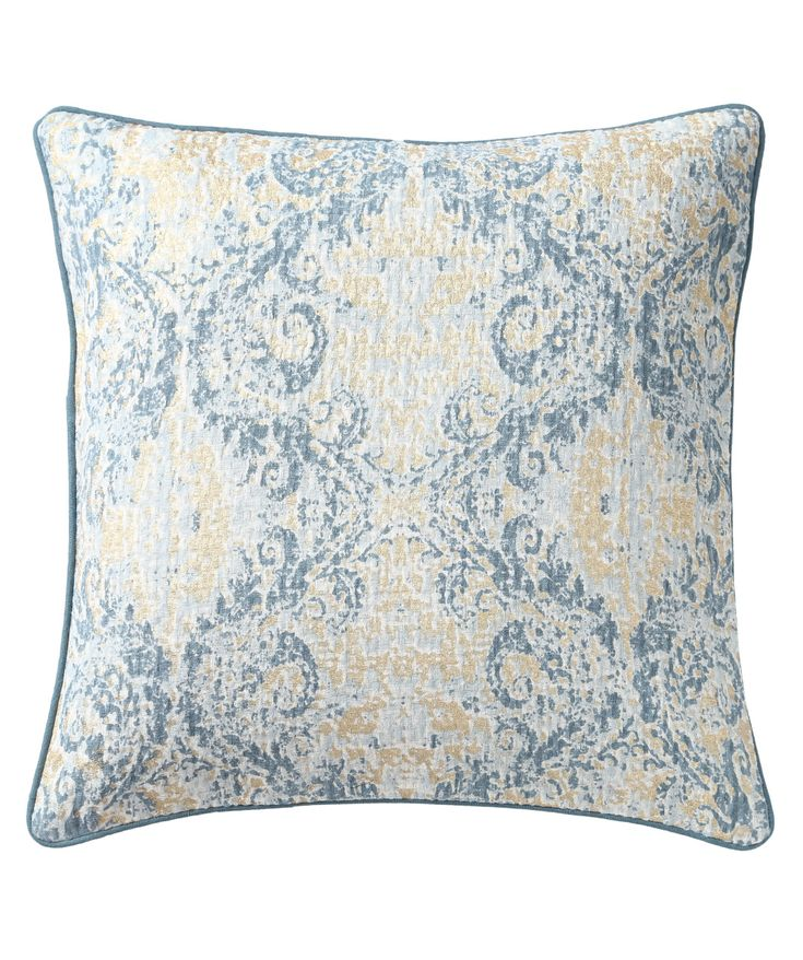 A typical damask pattern has been screen printed in two shades of blue. The piece has been gold foil printed to add to the flair. The reluctance of the fabric to take up the colours brings about a unique and distressed look. www.theindianpick.com