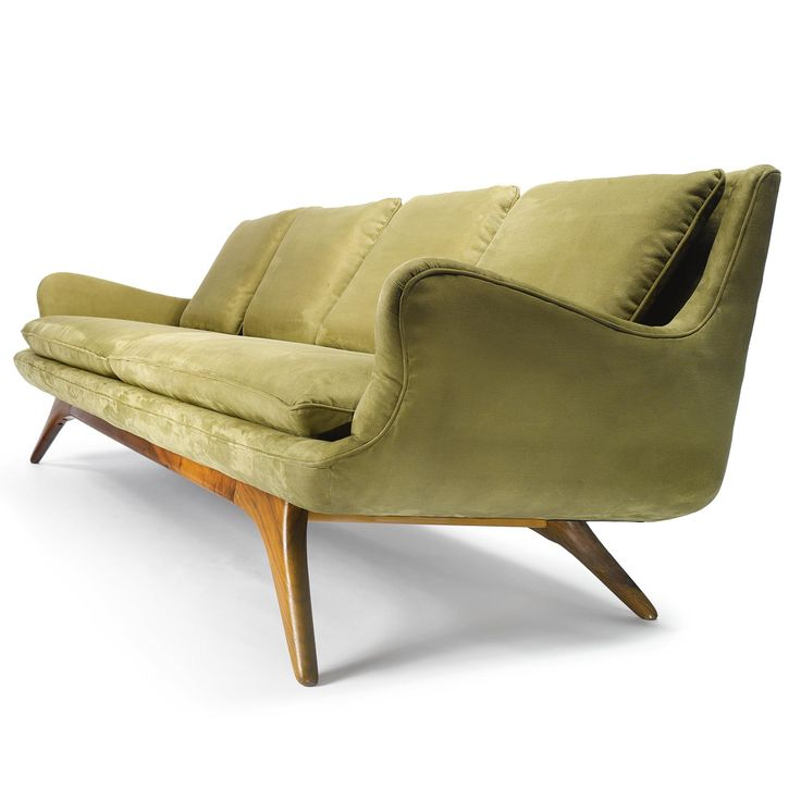 Vladimir Kagan SOFA FROM THE GROSFELD HOUSE COLLECTION Suede Upholstery And  Walnut 33 1/4