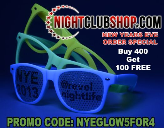 "> CUSTOM PRINTED GLOW SUN GLASSES New Years Eve Special - If you Order Mon-Tue-Wed, We can still get them to you on time - Fastest turnaround in the U.S.A. Guaranteed! Not outsourced/Done in-house. We are not a Drop-Shipper. FREE PROOFS FREE ART/DESIGN! FREE PRINT SET UP! NO RUSH FEES! PROMO CODE ""NYEGLOW5FOR4"" Custom Printed New Years Eve Glow in the Dark Sun Glasses with your Art,Text, or Logo.  http://ow.ly/hc3V307rHam"