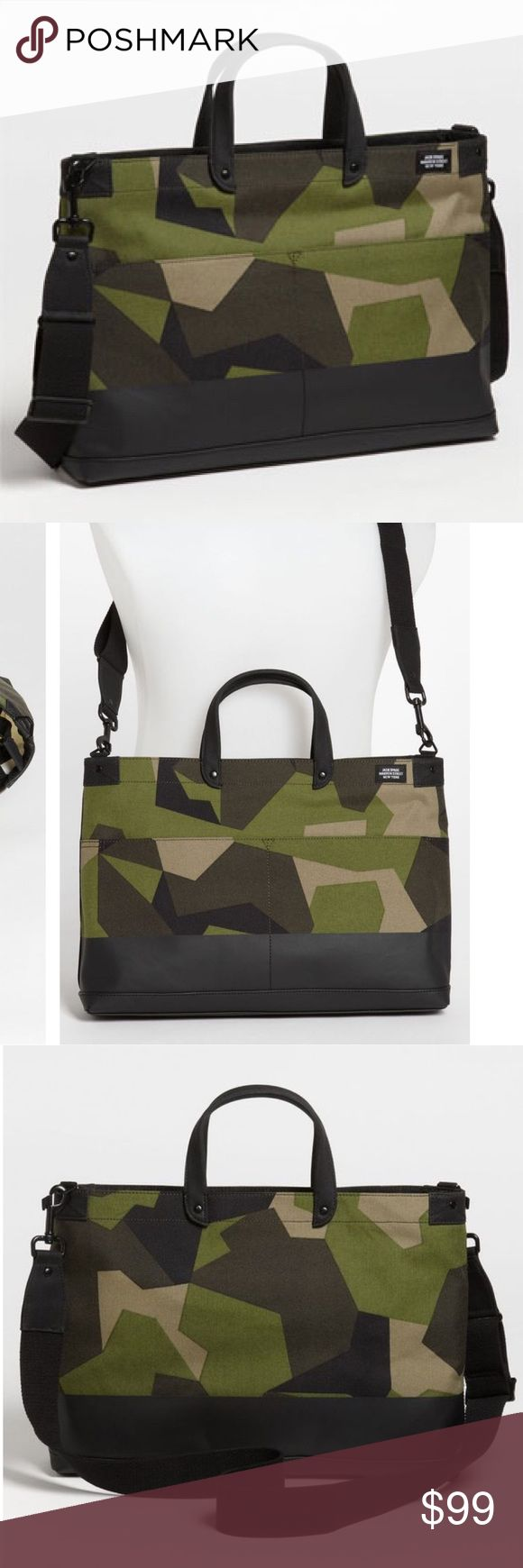 Jack Spade Camo Briefcase Worn once or twice! Originally $200 from Nordstrom. Small defect on bottom corner of the bag when the leather got scraped- not noticeable at all (see last photo) Jack Spade Bags Briefcases