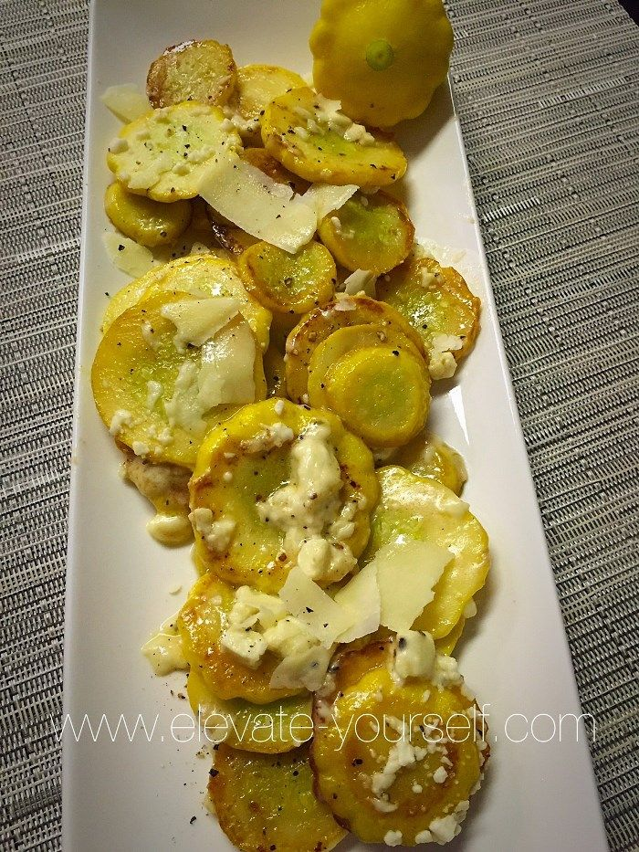 Sauteed Sunburst Squash with Feta (aka Pattypan squash) fresh from the Farmers Market. They were delicious…of course cheese makes everything taste good. This was my first experience with these and we really enjoyed them! I thought about stuffing them but they were a little small so I decided to sautee them instead. I would say …