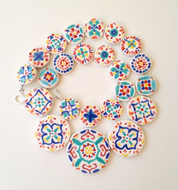 Reversible FIESTA CHOKER NECKLACE -  2 in 1, Mexican, Tile, Talavera, Ethnic, Boho, Gypsy, Black, White, Spanish, Jewelry, Nordic, Colorful on Etsy, $286.00
