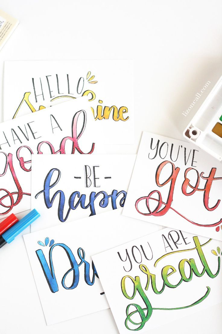 Diy Hand Lettered Watercolor Postcards Watercolor Postcard Hand