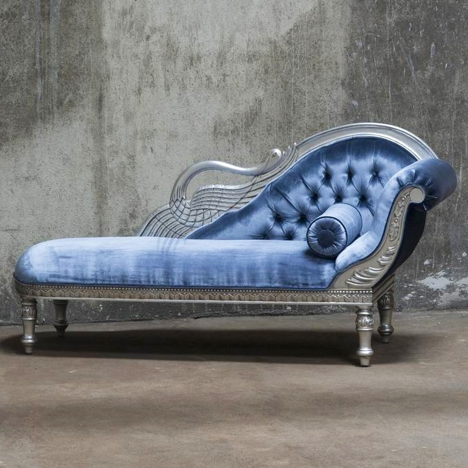 Pale blue velvet and silver chaise longue