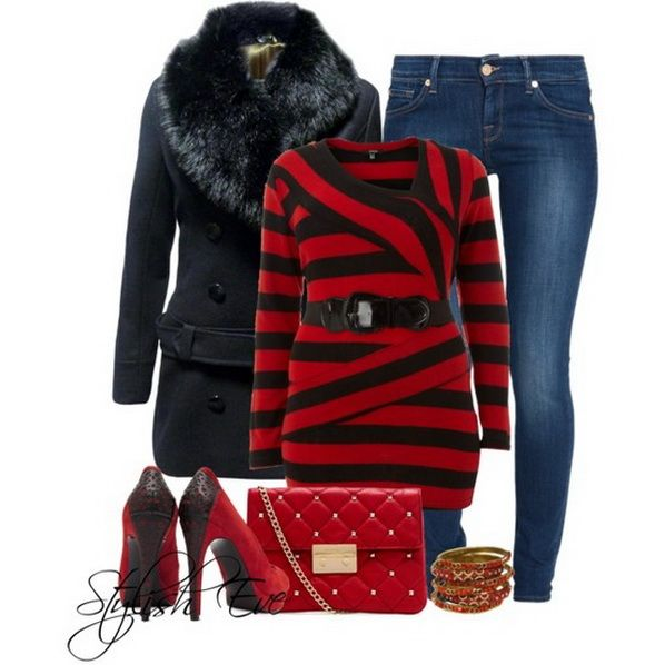 Red Winter 2013 Outfits for Women by Stylish Eve