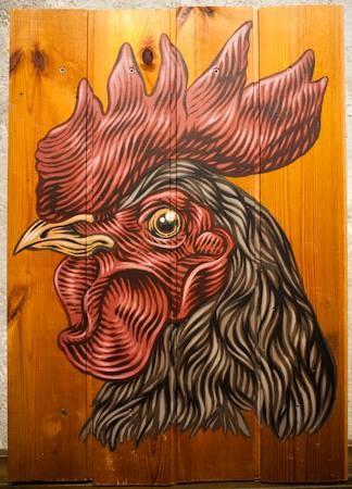 """Lucamaleonte's """"Prima che il gallo canti"""", 35x51, acrilyc on wood, 2014.  Artwork for The End Is the Beginning show at Sacripante Gallery. We are in the heart of Rome in via Panisperna 59. #art #artwork #gallery #exhibition #rome #artgallery #masterpiece #urbanart"""