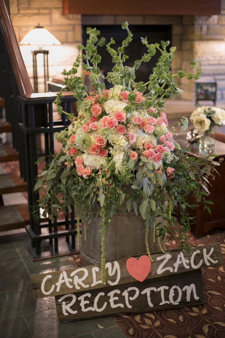 Reception Sign | Wine Barrel | Flower Arrangement