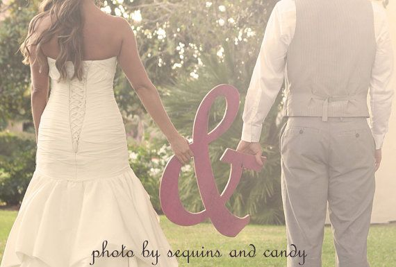Large Wooden Ampersand Sign, Wooden Letters Wedding Sign Painted Distressed hot Pink- 20 tall via Etsy