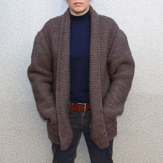 MADE TO ORDER  men hand knitted cardigan hooded by BANDofTAILORS
