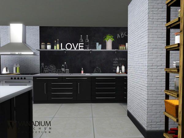 Love the blackboard idea  Vanadium Kitchen by wondymoon for Sims 3