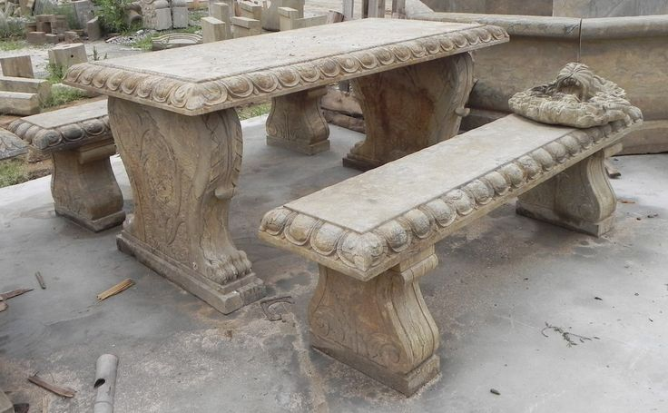 antique-stone-table-and-bench-set.jpg (1200×743)