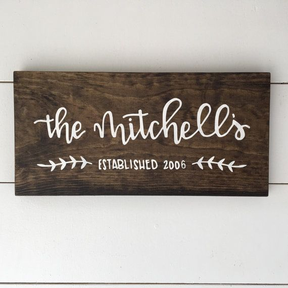 This Name Sign features Last Name Established YEAR with leaf silhouette detail. Stained wood piece with white lettering and hand sanded edges. SIZES: 15″ x 7.25″ ___________________ This piece is made to order. These signs are made using first generation White pine board and is stained in the MillionAyres Signature Walnut. All lettering and illustrations are hand lettered and hand drawn then converted to a stencil and painted using Acrylic Paint. It is then sealed with a clear matte…