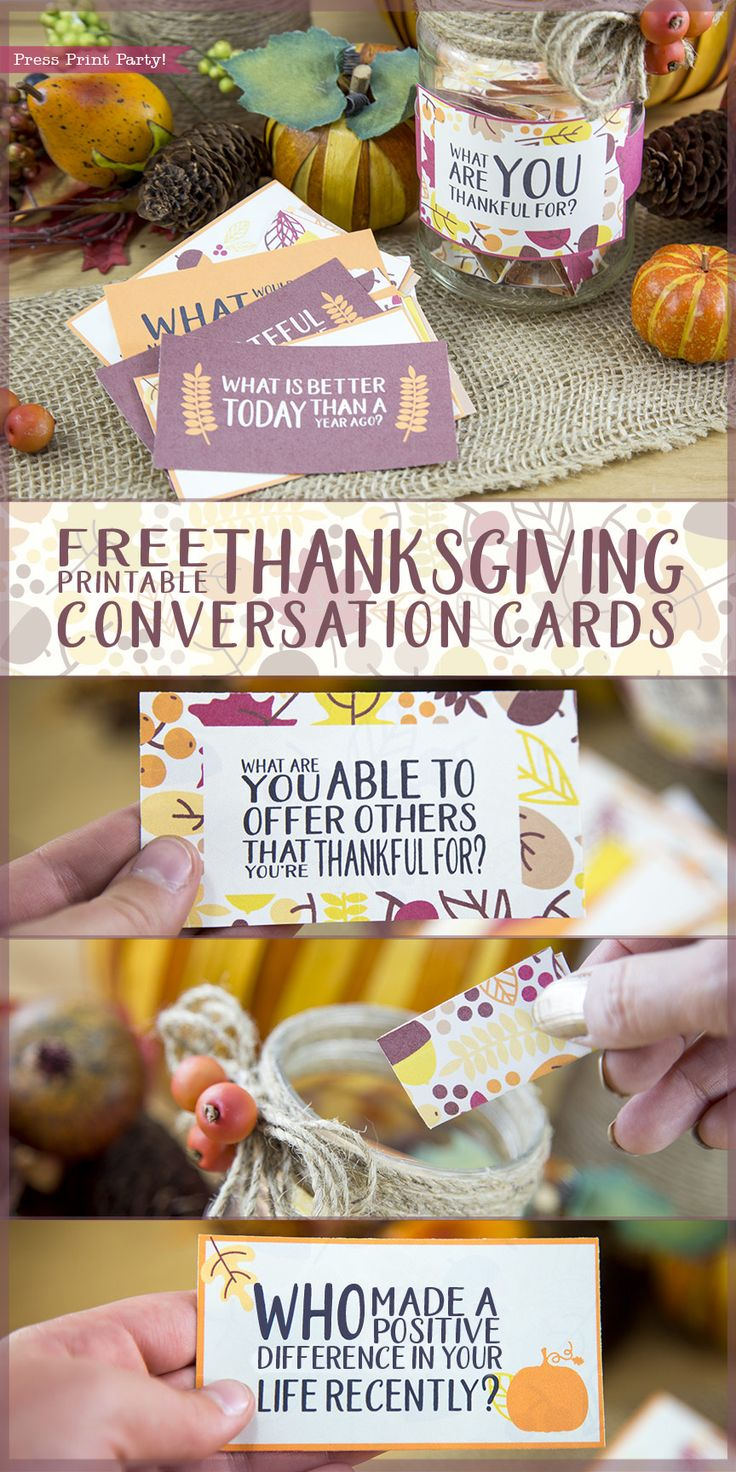 Free Thanksgiving Printable Conversation Cards - By Press Print Party! Free printable, Thanksgiving decorations, Thanksgiving table, Conversation starters  #freeprintable