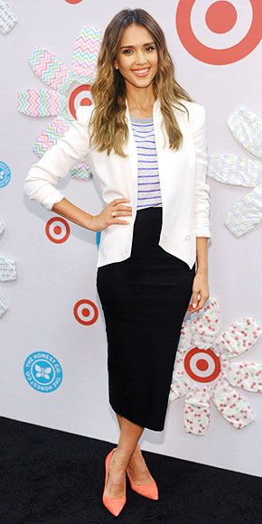 Jessica Alba in a striped top and white Rebecca Minkoff blazer with a black midi skirt, plus peach pumps, for the The Honest Company Target launch in L.A.