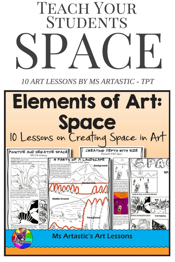 10 Lessons on the Element Space for your Middle School and High School students! Students will learn and apply the elements of art through a variety of instructional and informational lessons and worksheets! Teach the Elements of Art: Space to your Middle School or High School Class. Learn a variety of techniques and apply the elements to art projects or sketchbook work.