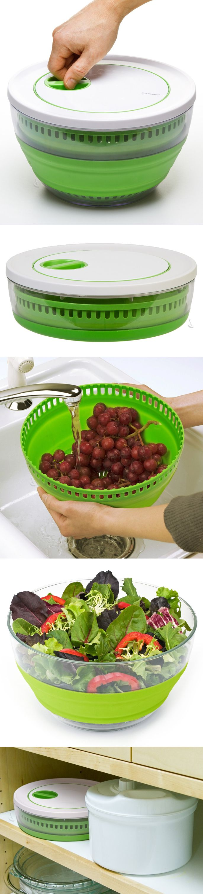 Collapsible salad spinner // packs flat for easy storage, and doubles as a handy colander and salad bowl! Brilliant! #product_design #kitchen #gadget