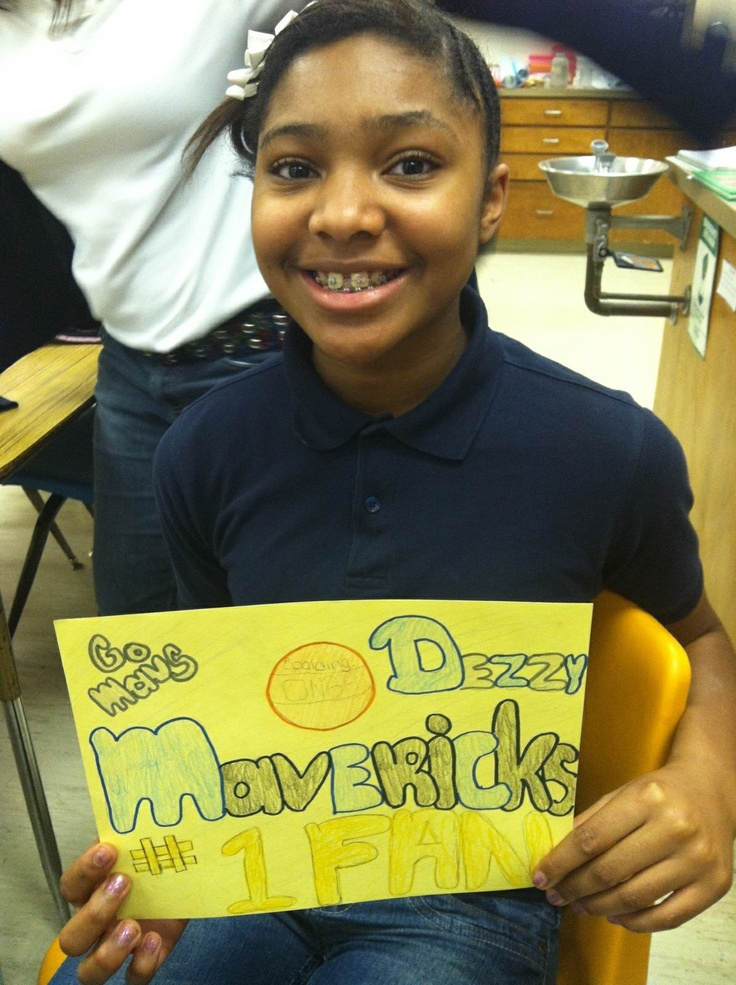"Students created a ""Number One Fan"" Mavericks poster to enter for a chance to win Mavs tickets."