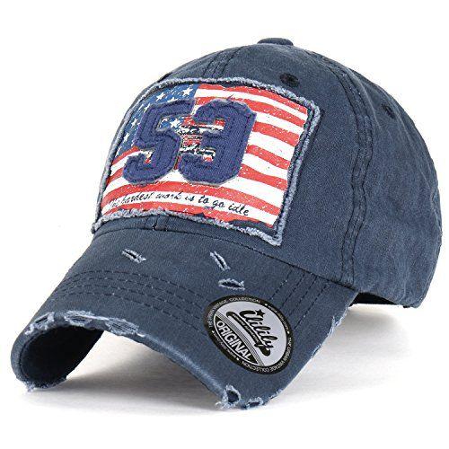 ililily Cotton Vintage Distressed 53 American Flag Adjust... https://www