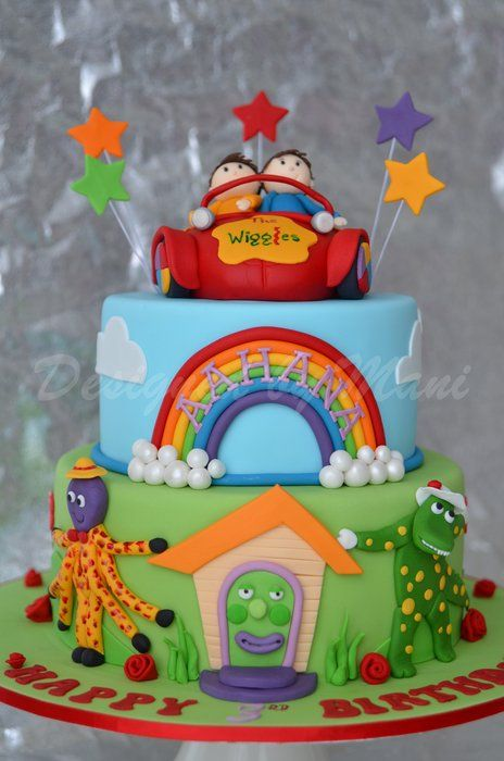 WIGGLES & THE BIG RED CAR BIRTHDAY CAKE - by designed by mani @ CakesDecor.com - cake decorating website