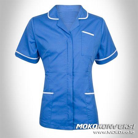 SERAGAM PERAWAT, MEDIS & PAKAIAN RUMAH SAKIT. Model Baju Perawat Wanita Warna Biru.