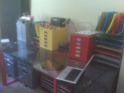 ... Style Toolbox Underneath Modern Dining Table For Base And Desktop Style  Bisley Drawers (available At Container Store) For Storage Of Office Supplies  ...