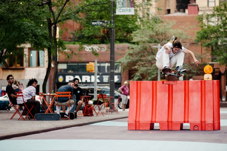 Indy Team Pro #AlexOlson popping over a massive barrier NYC barrier. Photo: Mehring. #IndyTrucks #IndependentTrucks