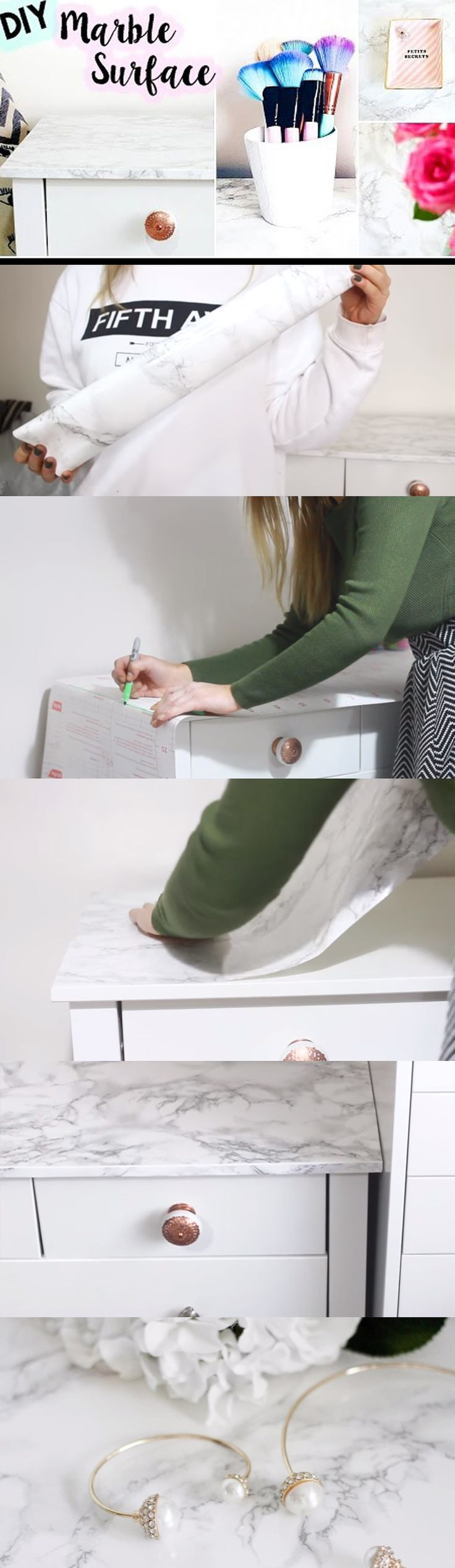 The only thing you'll need is a marble contact paper and you can do this on pretty much any flat surface. See video and written instructions here==> | How To DIY Marble Surface | http://gwyl.io/diy-marble-surface/
