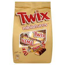 Biscotto ricoperto di cioccolato al latte  Twix miniatures   Confezione da 130g ( circa 13 pezzi da 10 g ciascuno)