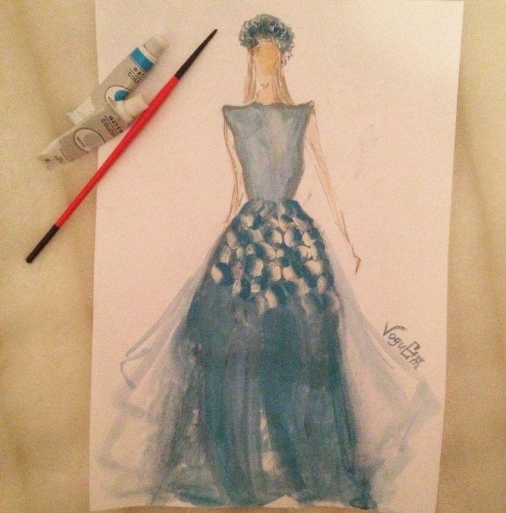 artwork art model drawing sketch girl blue flowers beauty