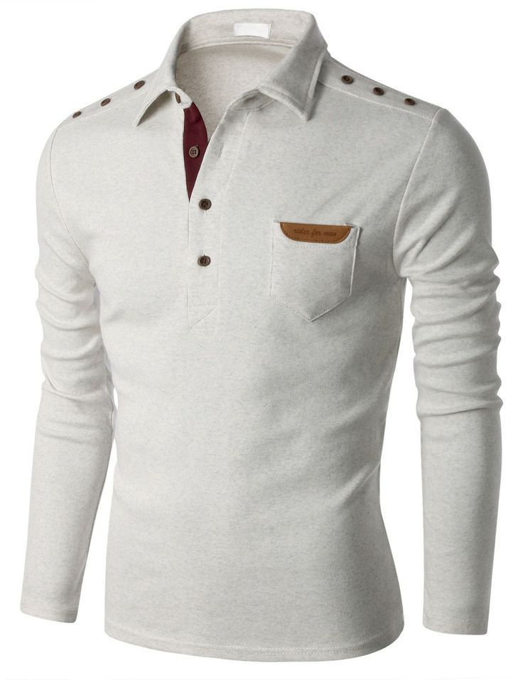 Doublju Men's Long Sleeve Polo T-shirt with Snap Buttons at Shoulder (KMTTL0148) #doublju