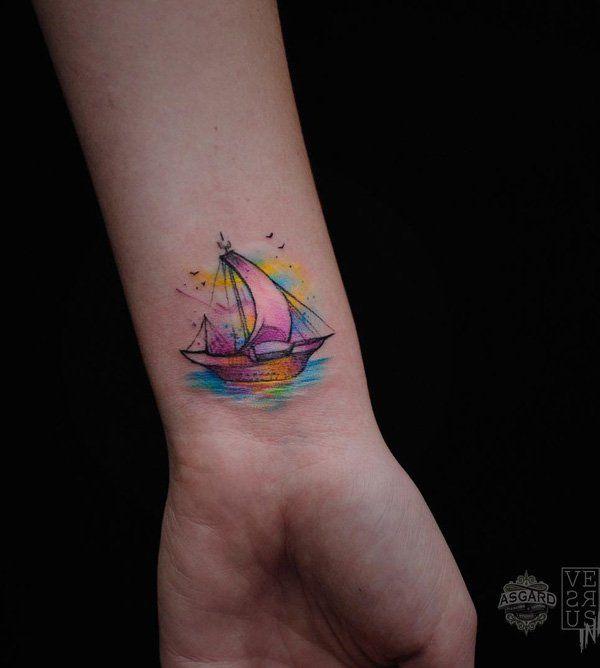 Boat wrist tattoo - 100 Boat Tattoo Designs