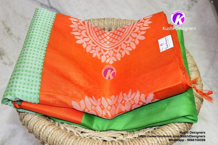 Exclusive Geen kuppadam saree with orange and check big design border..