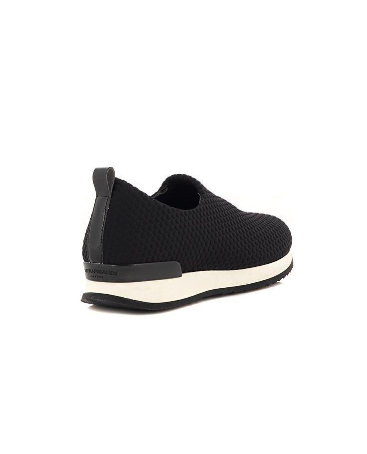 NR|RAPISARDI NEOPRENE SNEAKERS Black neoprene sneakers white trim rubber sole back engraved logo