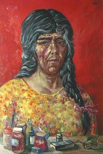 """Antonio Berni, """"La curandera"""" óleo 100 x 80 cm."""