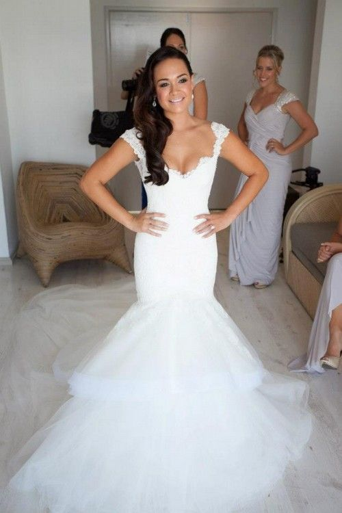 Love her dress and the bridesmaids!