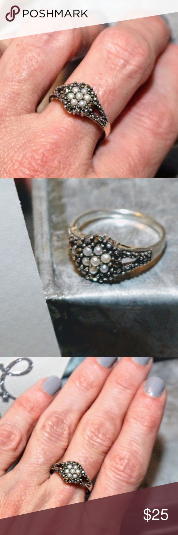 Beautiful .925 Sterling Marcasite & Pearl Ring Beautiful .925 Sterling Marcasite & Pearl Ring.  Size 8. Von Maur Jewelry Rings