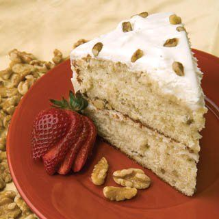 Enjoy a nutty taste in this black walnut cake with cream cheese frosting.