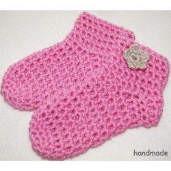 Bambusové dětské ponožky, ručně háčkované, růžové, vel. 0 - 18 měs.