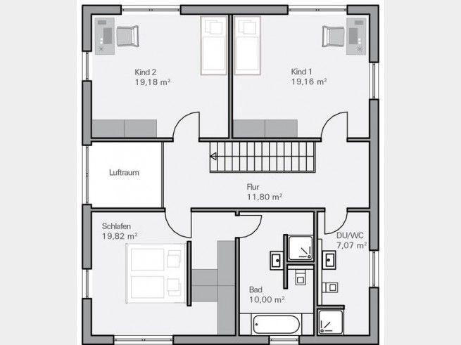 Grundriss OG Familienhaus Arndt mit 87 m2 Wohnfläche, modern mit Satteldach