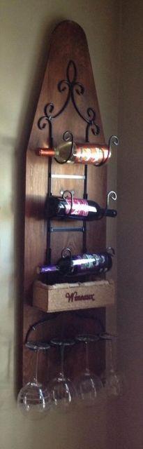 ironing board wine rack, dining room ideas, repurposing upcycling, wall decor