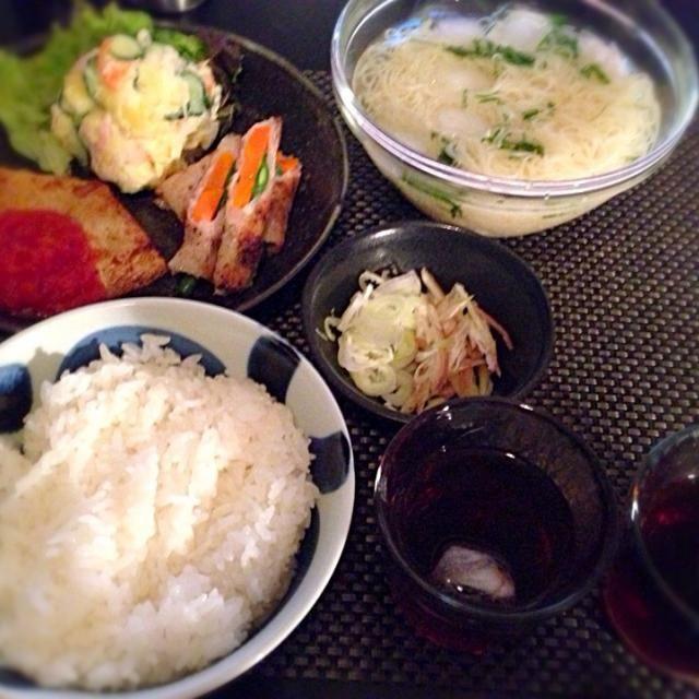 どんだけ炭水化物よ な夕食(-_-) - 8件のもぐもぐ - そうめん、鱈のソテートマトソース、豚肉巻き、ポテサラ by Ayumiazu