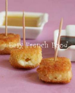 From Easy French Food, brie pané avec ses deux sauces (fried brie with two dipping sauces).