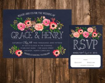 Spring Bohemian Wedding Invitation Set: Light by papernpeonies