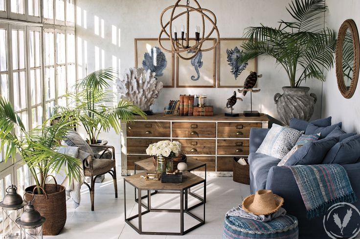 Coastal Charm - nautical and marine influenced décor comes together in this living room