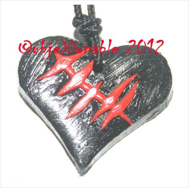 Black Broken Heart with Red Stitching Detail Pendant