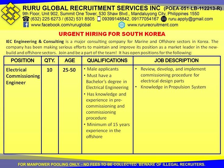 Hiring for South Korea Electrical Commissioning Engineers - electrical engineer job description
