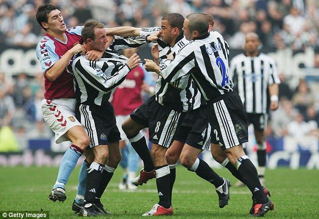 Kieron Dyer and Lee Bowyer come to blows during Newcastle's 3-0 defeat to Aston Villa back...