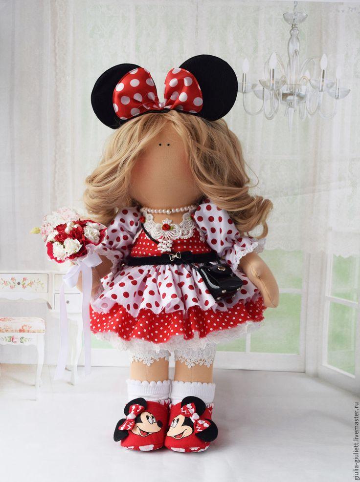 Купить Интерьерная куколка. - ярко-красный, минни маус, трессы, букет, сумочка, трикотаж шерсть