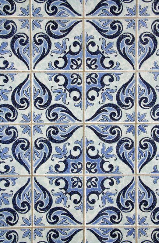 "Blue Patterned ""Tile"" Wallpaper  Looks a LOT like portuguese Azulejos!"