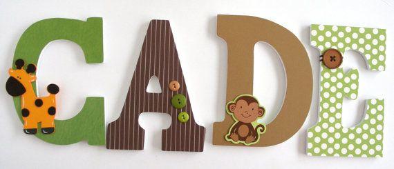 Custom Wooden Letters MONKEY Theme Nursery Bedroom by LetterLuxe, $10.00